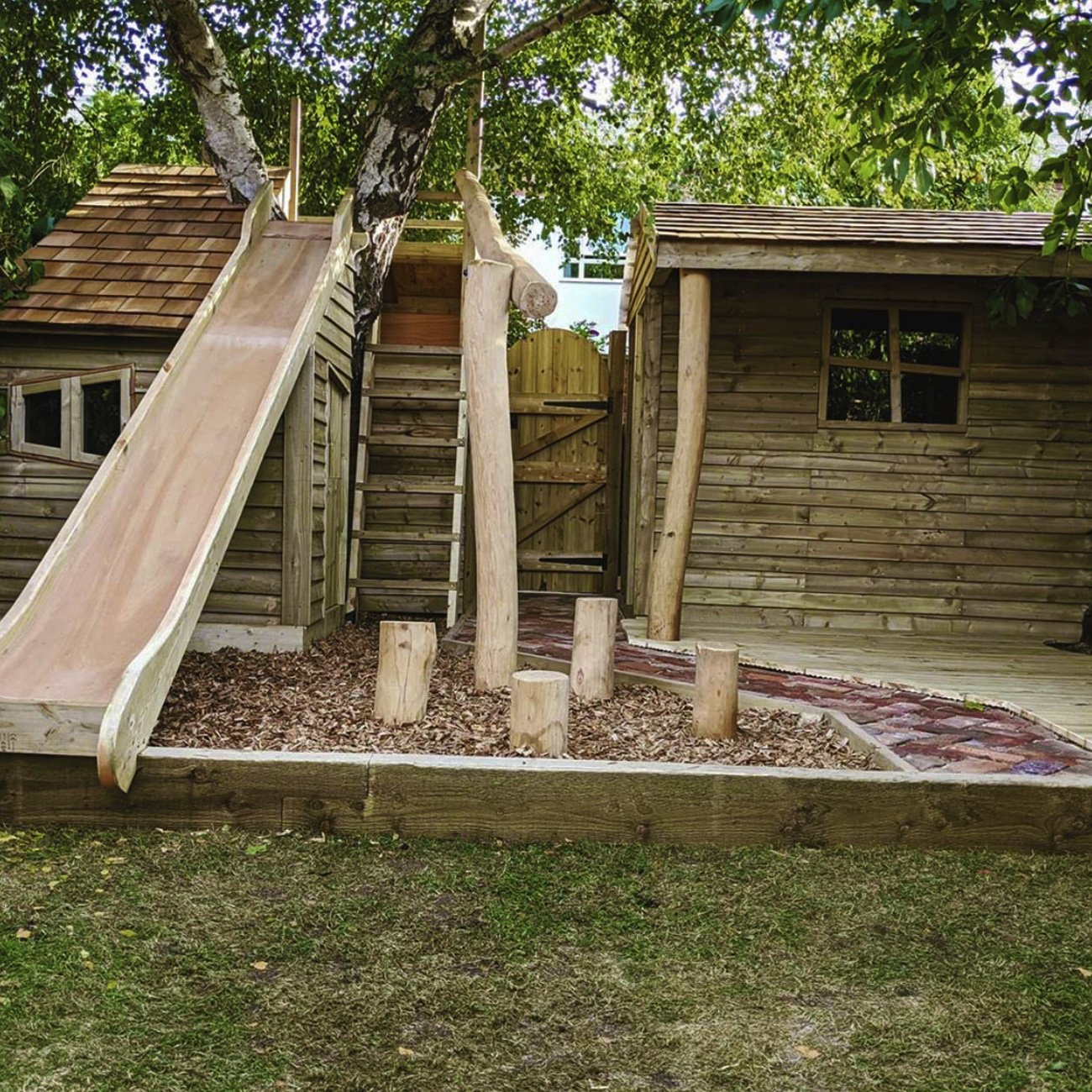 Bespoke garden joinery to create a children's playground and playspace